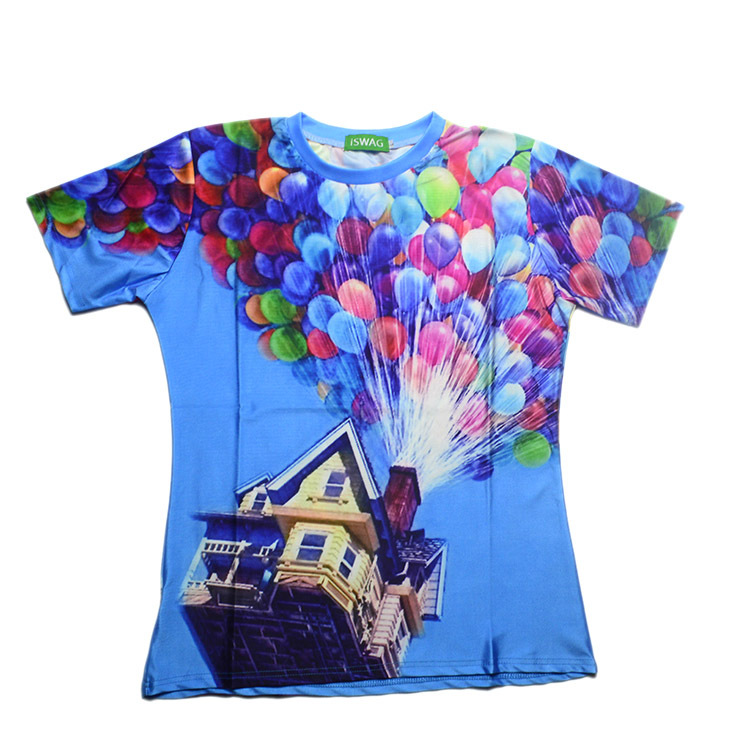 2015 women/men tshirts HD Colored balloons flying Pixar print t-shirt short sleeve novelty 3d t shirt top style casual-shirts
