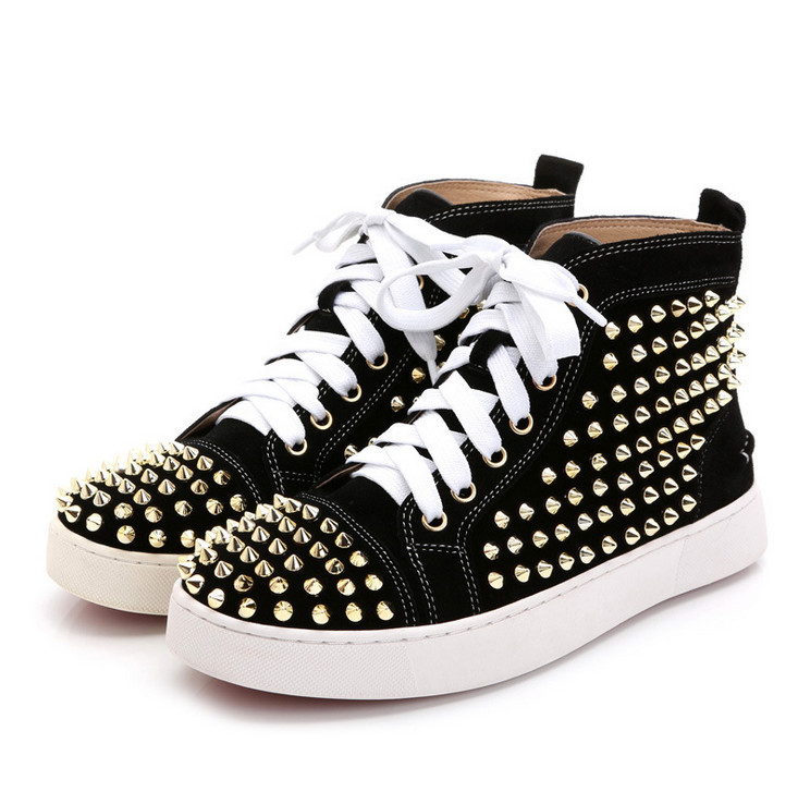 Free shipping New Luxury Brand  White high top Women shoes 2015 fashion Casual rivets spikes Women red bottoms Sneakers Trainers