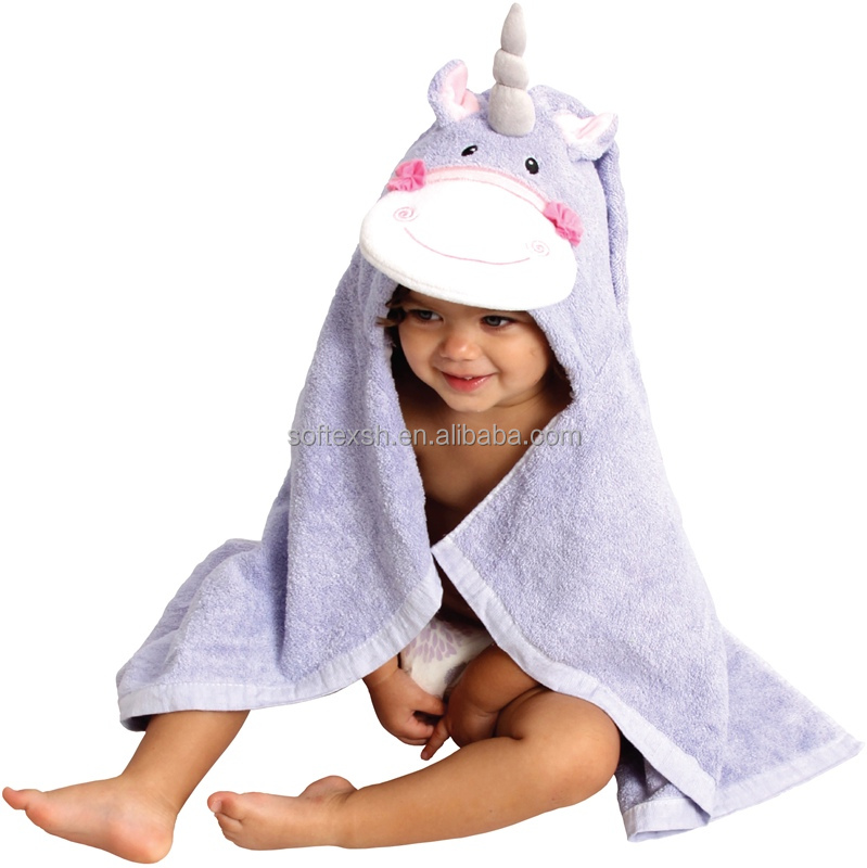 best selling amazon 2017 Soft Plush Bear Ears luxurious extra soft bamboo unicorn hooded towel for baby