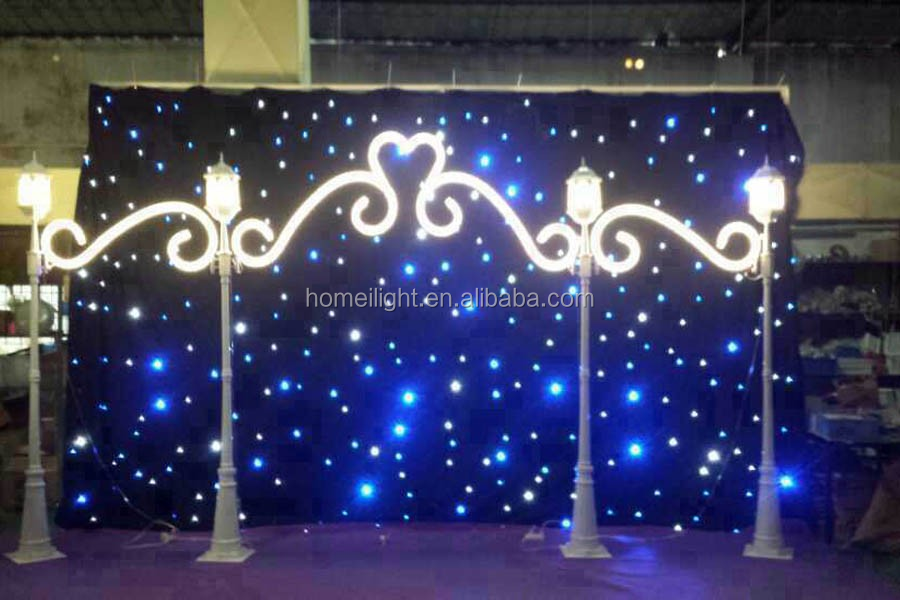 4*8m wine party Decoration Blue and White twinkle cloth for performance background LED Star Curtain