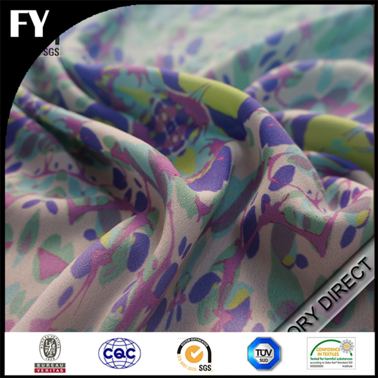 Custom digital printed silk chiffon fabric metallic