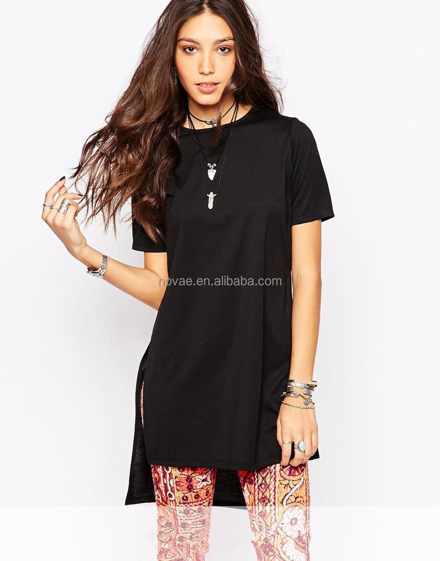 Shirt design female - 100 Cotton Fabric For T Shirt New Design T Shirt Women Longline T Shirt
