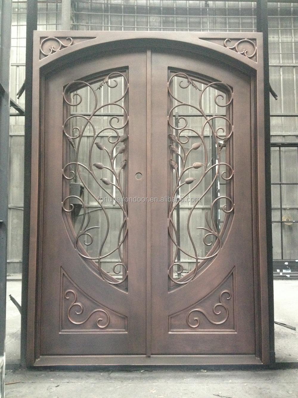 2015 luxury moden iron door with screen glass panel half - 28 inch exterior steel door for sale ...