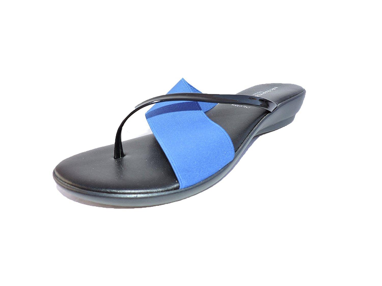 539325db1587c Get Quotations · Rapisardi Women s 9018 Italian Black   Cobalt Blue Sandals  Low Wedge Slides Size ...