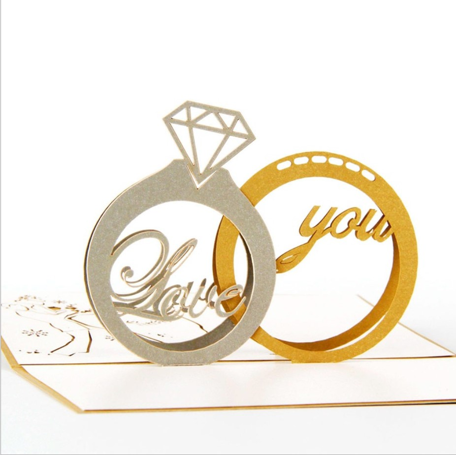 Amazon hot sale Meilun 2019 new design diamond ring pop up greeting 3d valentine card for sale