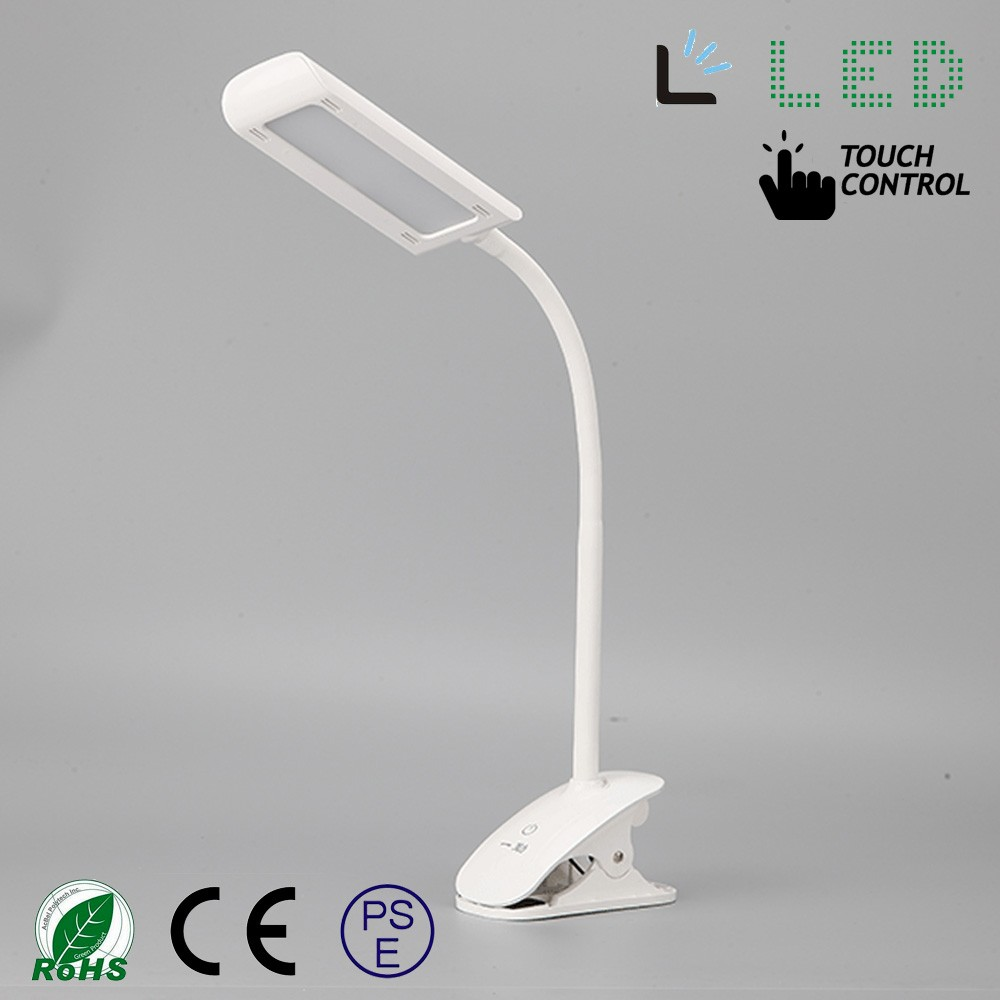 7W Flexible Gooseneck 3-Level Dimmer Touch-Sensitive natural ight led Clip On foldable silicone kids study table lamp