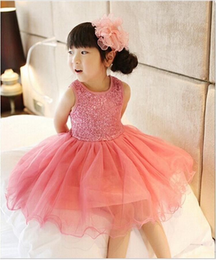 Nuevo 2015 niños lentejuelas vestido de la muchacha del cordón del ...