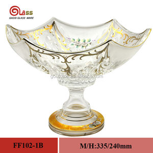 Decorative Pedestal Handmade Gold Painting Glassware- Fruit plate/hand painting glass bowl with 100% purity gold