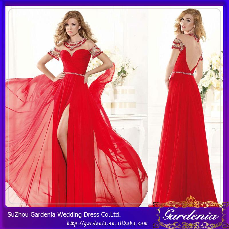 Vestidos de noche manga larga rojos