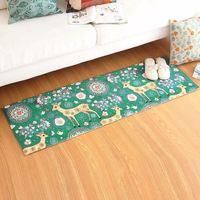 Comfortable Blue Deer Flowers Patterns Sofa Bedroom Carpet Environmental Protection Non-Slip Living Room Rug Home Use