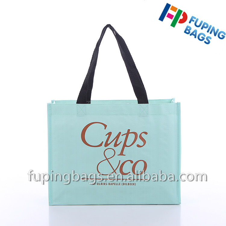 Customized European pp woven shopping bag with lamination print