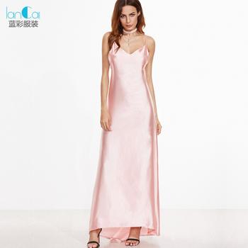 4af7e884bcc Spaghetti Strap Pink Satin Girls Maxi Dress - Buy New Design Maxi ...