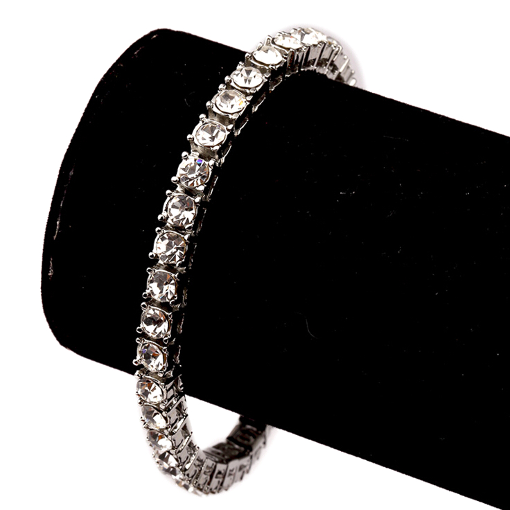 Latest Fashion CZ Crystal Silver Tennis Bracelet For Men And Boys