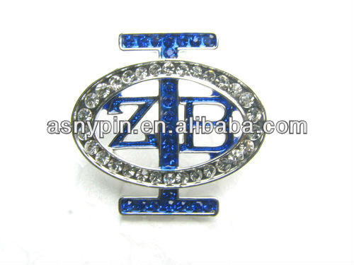 Zeta Phi Beta diecut shape brooch pin, bling lapel pin