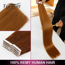 100% european Remy Human Full Cuticle Double Drawn Straight Russian tape on extentions human hair