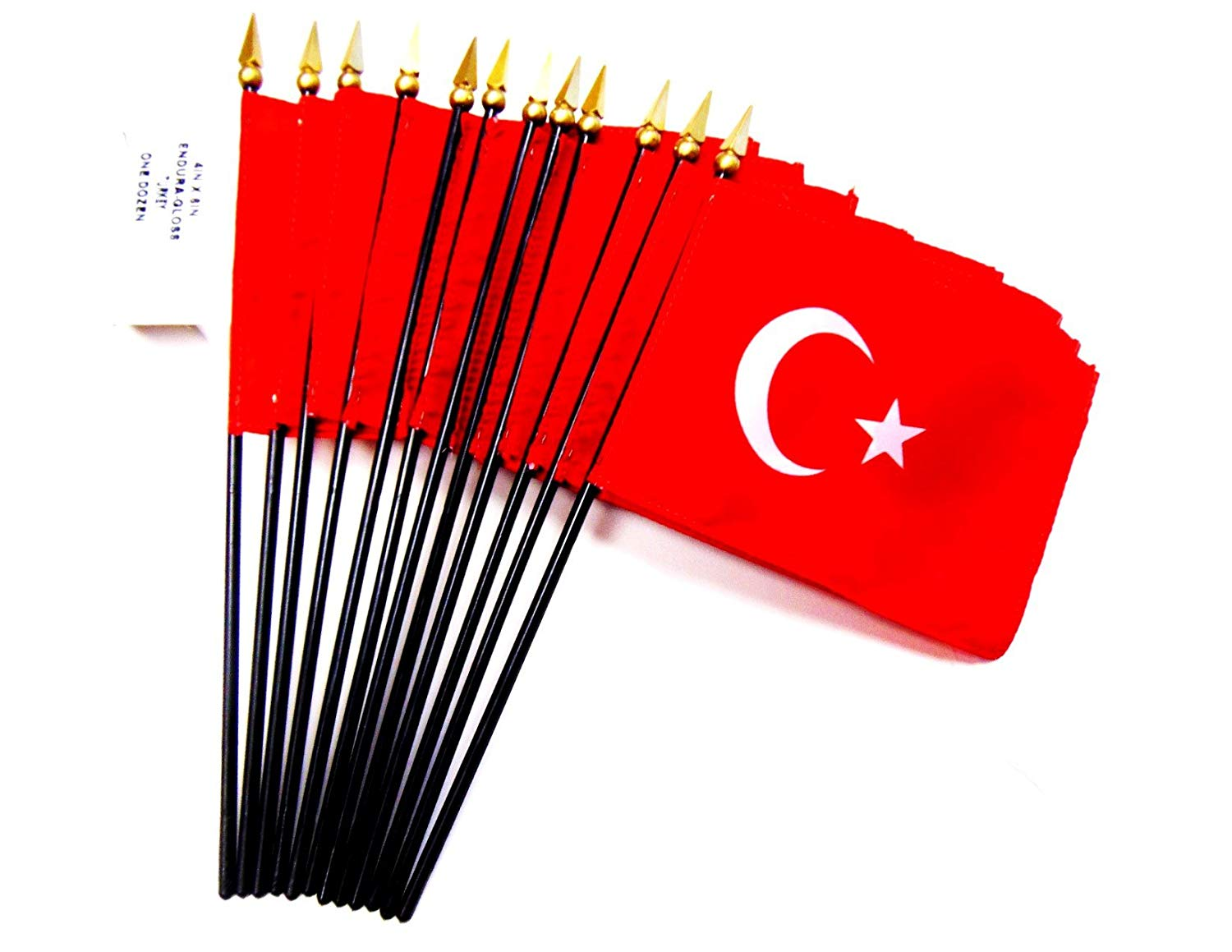 "MADE IN USA!! Box of 12 Turkey 4""x6"" Miniature Desk & Table Flags; 12 American Made Small Mini Turkish Flags in a Custom Made Cardboard Box Specifically Made for These Flags"
