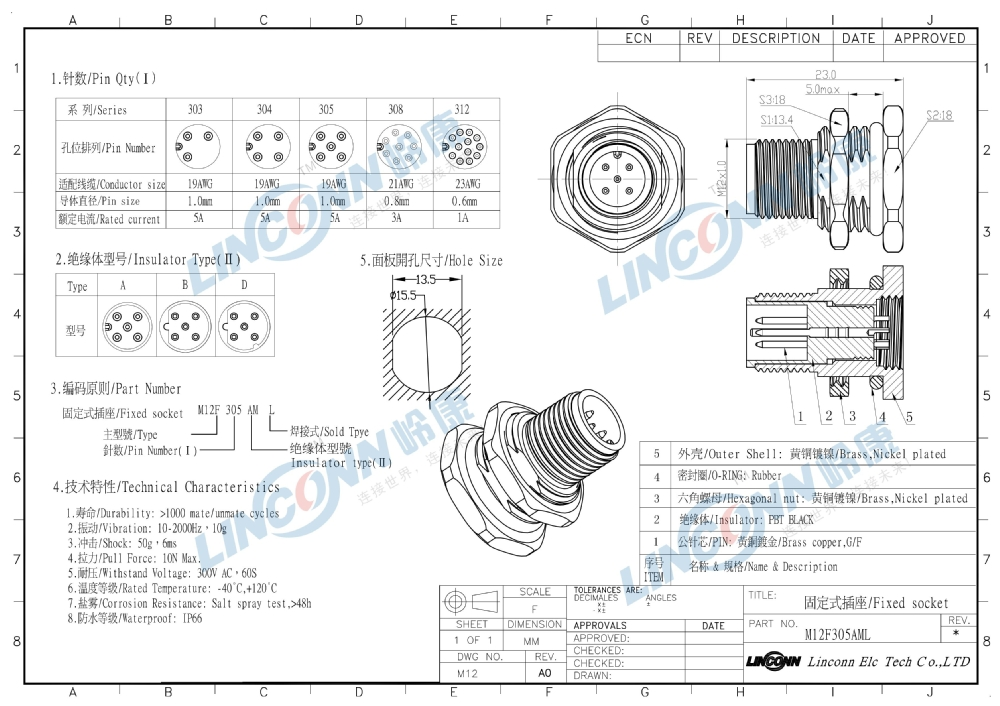 M12 5 Pin Ip67 Male Amp Female Connector Locking Type M12