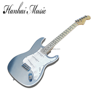 Wholesale factory custom Silvery Gray body ST electric guitar with SSS pickups,white pearl pickguard,can be customized