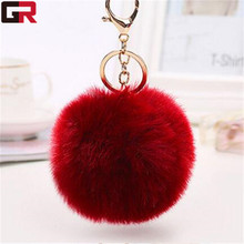 New Promotion Cheap Good Quality Plush Custom Rabbit Fur Ball Key Chain With Logo