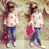 European Style Kids Clothes Star Printing Shirt+Jeans Sets Children Clothes Autumn Sets For Girl