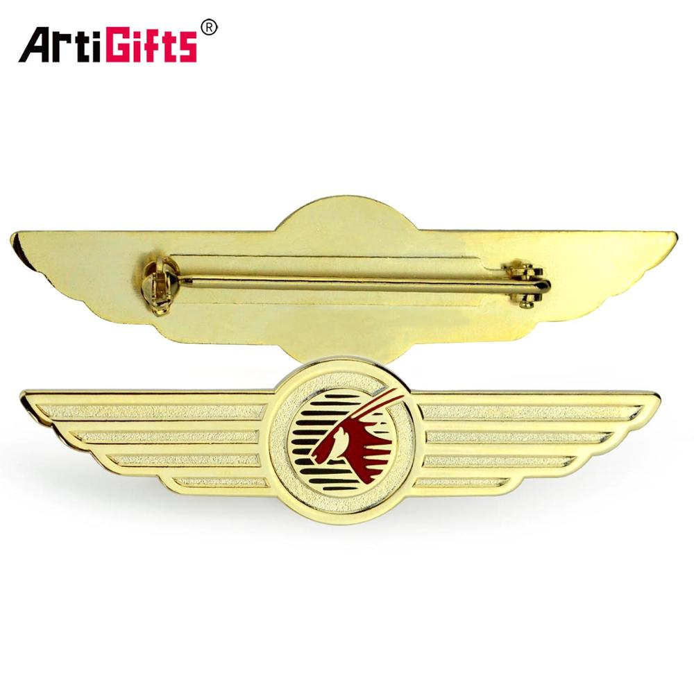 Vergulde kraag custom metalen airline pilot hoed vleugels pin badge