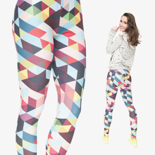 2015 Women New Arrival Color Triangles Pixels 3D Digital Printing Fashion Sexy Leggings Plus High Elastic