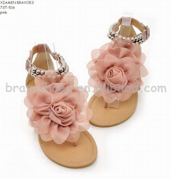 cheap women beach flat sandals flip flops with flower