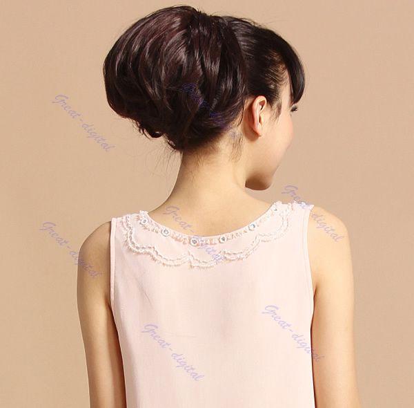 F85 женщины клип в большой волос Bun парики наращивание волос для невесты головные уборы
