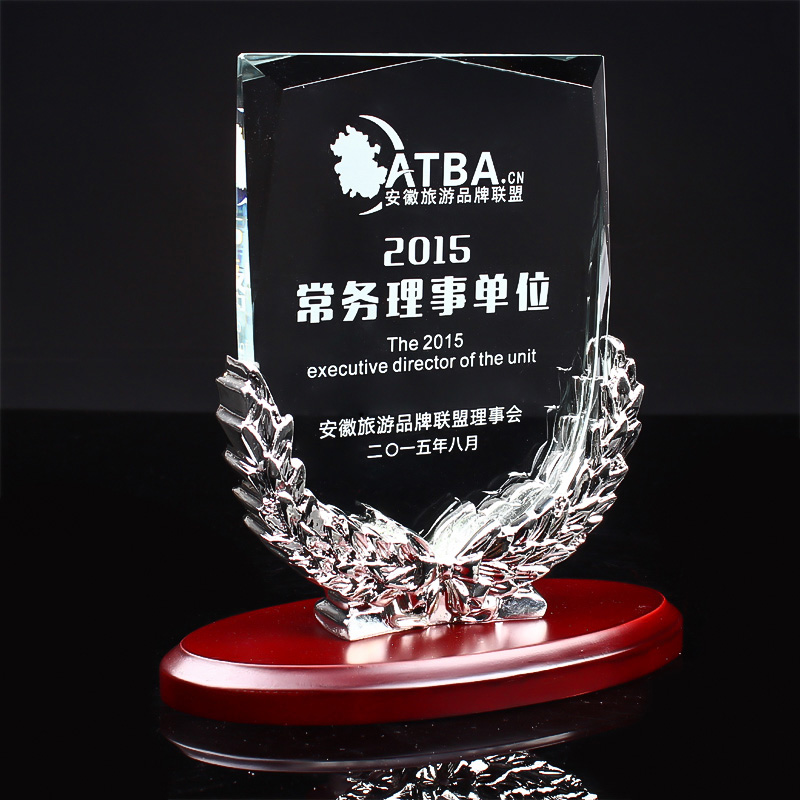 2018 NEW Design color print custom Shield AND crystal award laser engraved k9 crystal china cups medal trophy with Wooden Base