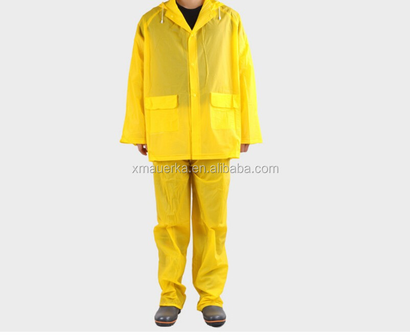 PVC yellow raincoat good quality with cap , cheape rian suit