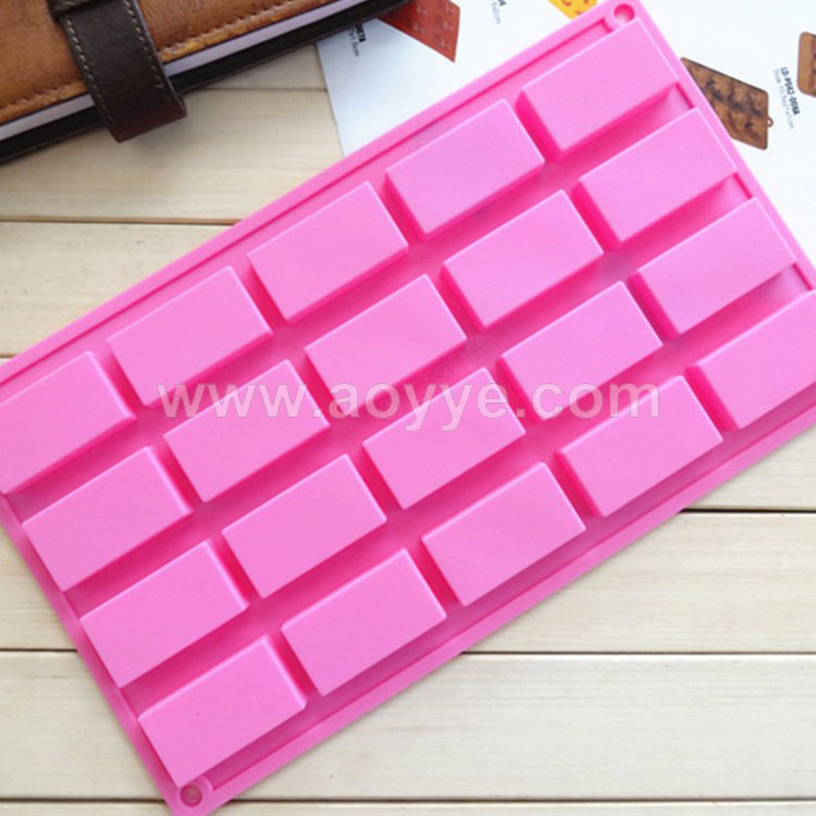 Wholesale baking tools kitchen silicone 3d chocolate mold soap mold 20 bar square unique silicone cake mold