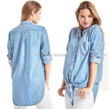 58c70050499 Sexy Denim Tops for Pregnant Women Fashion Long Sleeve Denim One Piece  Dresses Wholesale Custom Made
