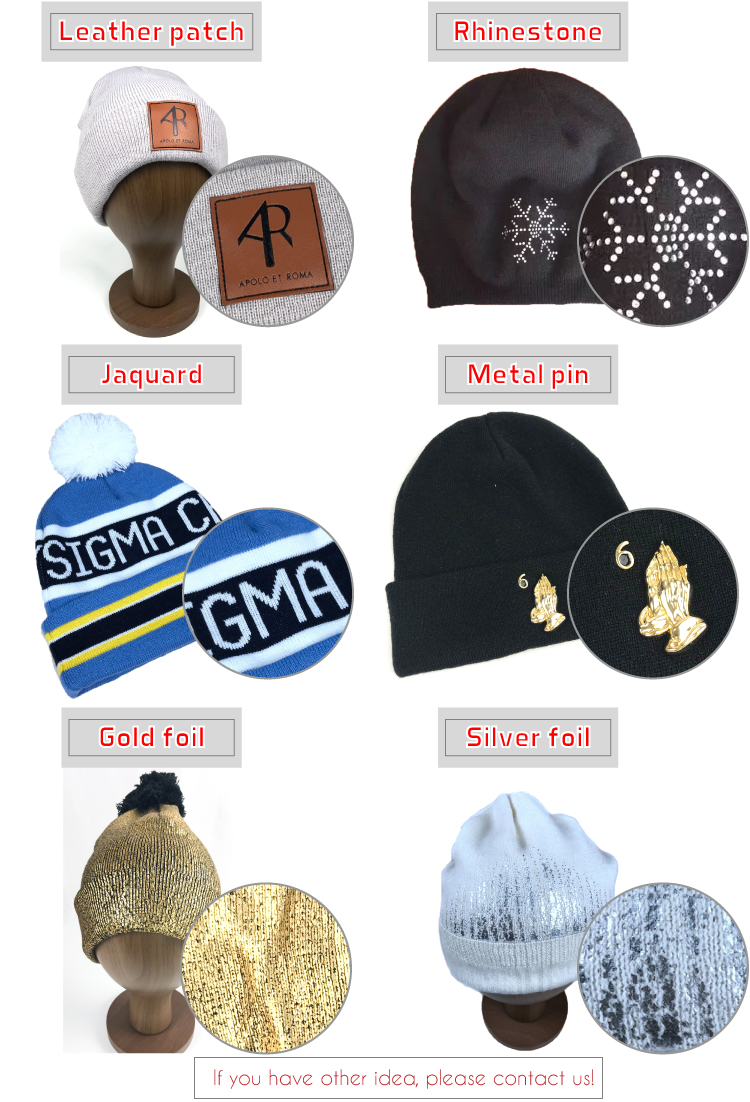 Hot sales Design yourself Own Leather Patch Custom Men Women Cotton Wool Winter Knit Beanie Hat
