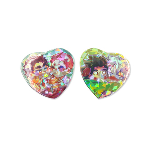 Custom Square Cat Star Heart Holographic badge