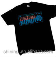 cheap 100% cotton black sound activated flashing el t-shirts