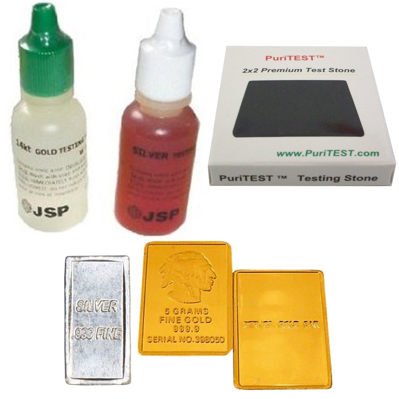 Gold Silver Test Acid Tester 14k Testing Stone Detect Metal 999 Sterling Jewelry + FAKE Gold & REAL Silver Bar Samples