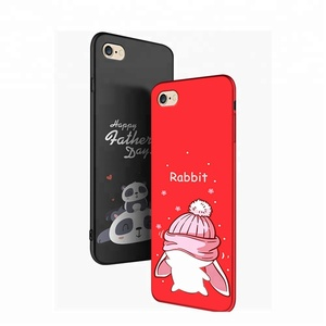 in Stock 7 design Black Red Cute Cartoon Animal Phone Case For iphone x 6 6 plus 7 7 plus