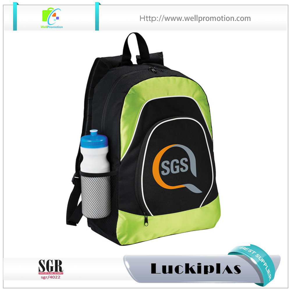 Recycled plastic bottle poly bag backpack with organizer compartments