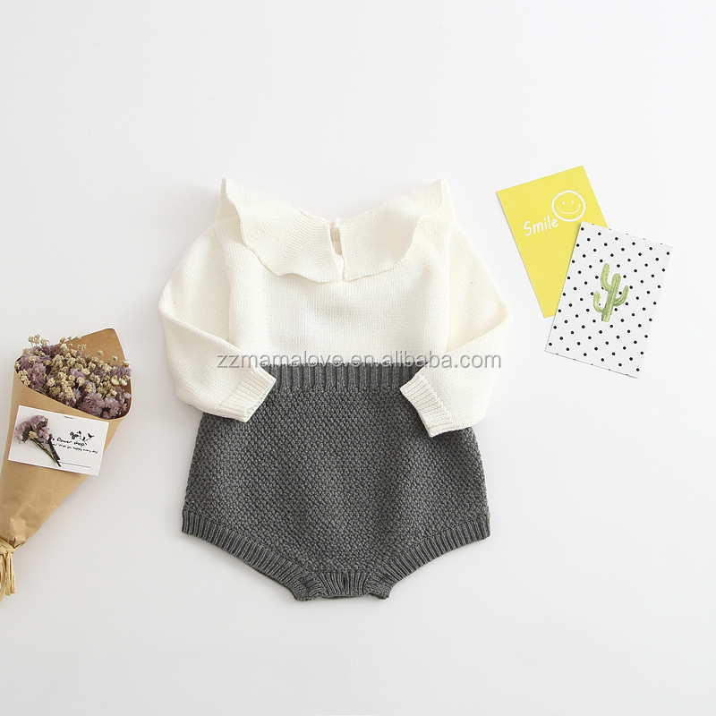 Newborn Baby Girl Clothing Rompers Wool Knitting Tops Long Sleeve Romper Warm Outfits