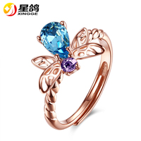 Wholesale Rose Gold Plated Adjustable Blue Zircon Butterfly Rings 925 Sterling Silver Rings For Women New Fashion Party Jewelry