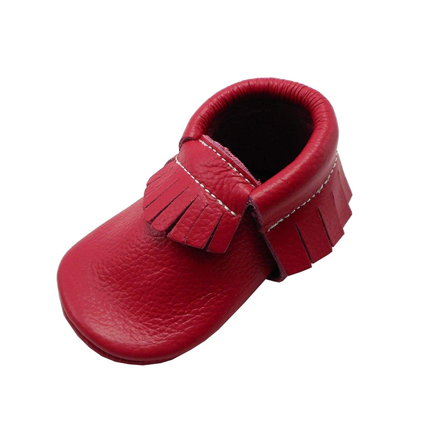 117363dee536 Get Quotations · YIHAKIDS Baby Tassel Shoes Soft Leather Sole Infant Shoes  Baby Moccasins Crib Shoes Rose Red(