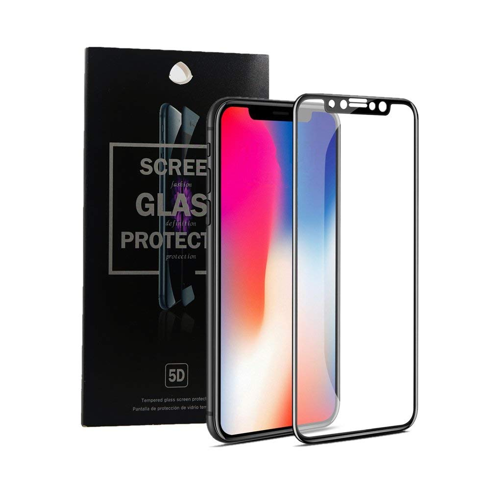 Screen Protector for iPhone XS Max Screen Protector, [0.33mm 5D][Full Coverage][HD Clear][9H Hardness][Scratch-Resistant] Premium Tempered Glass Screen Protector Easy Install for iPhone XS Max (Black)