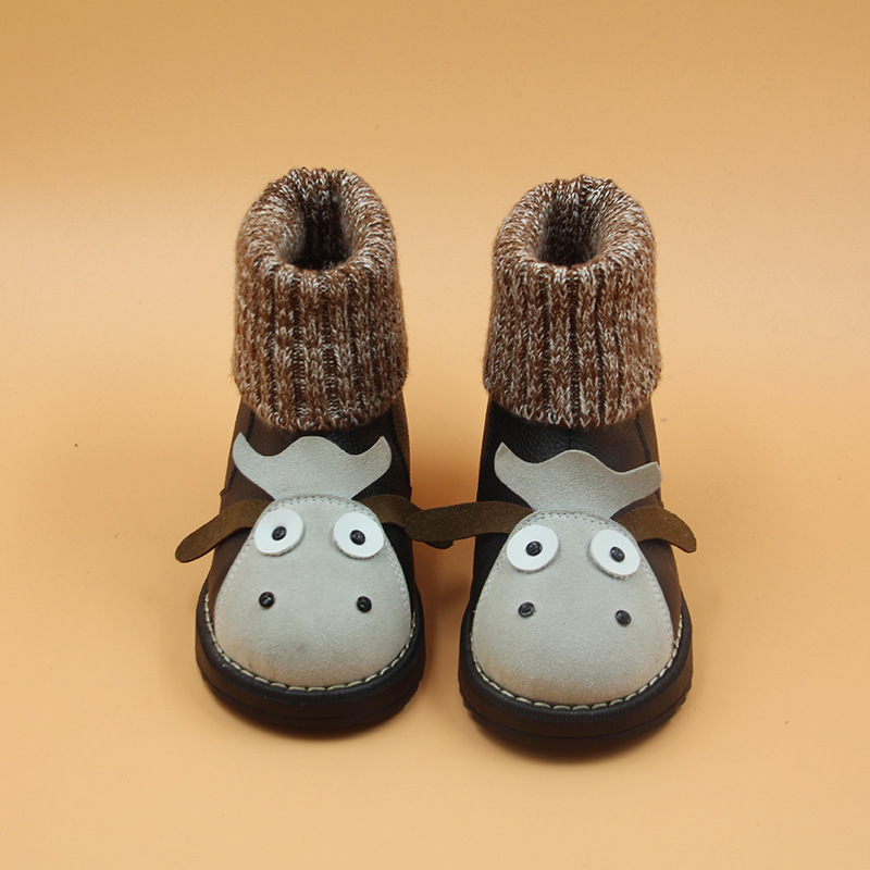 W0912 Winter Super Keep Warm Infant Toddler First Walkers Shoes Boots Booty Newborn Baby Snow Knitting Cute Cartoon Cow Shoes