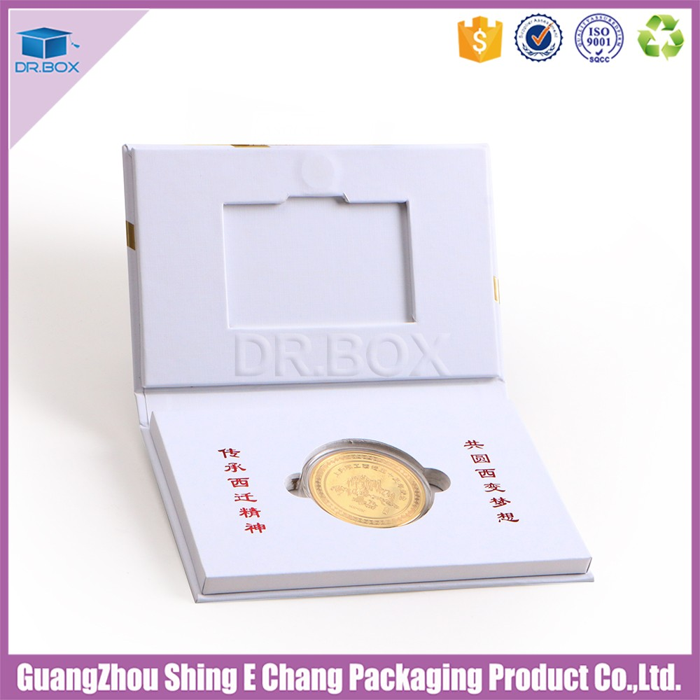 White color gold coin gift boxrigid set up box with business card white color gold coin gift box rigid set up box with business card and ribbon reheart Choice Image