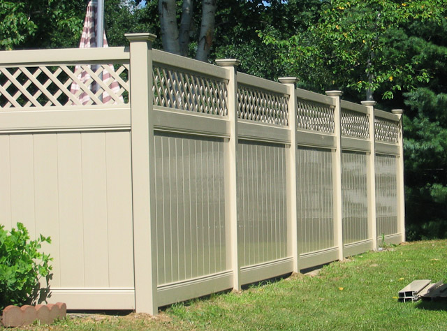 Pvc Garden Privacy Fence With Top Lattice Swimming Pool