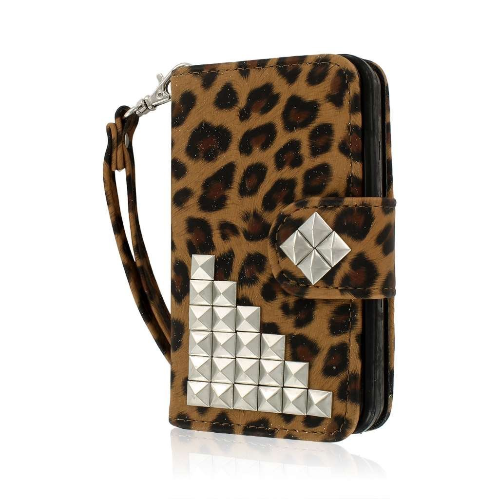 iPhone 4 / 4S Wallet Case, MPERO FLEX FLIP Wallet Case for Apple iPhone 4 / 4S - Studded Leopard