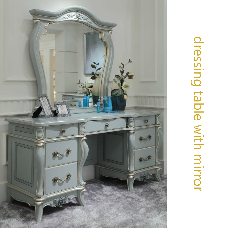French style bedroom dressing table with mirror ,classic elegant Turquoise home furniture