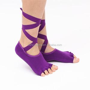 582d1b8d175 Anti Slip Toeless Grip Yoga Socks With Silk Ribbon Black Barre Pilates  Exercise Half Toe Low