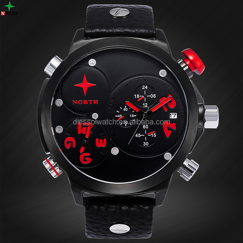 High Quality Montre Homme Quartz Watch Men Waterproof Multi-functions Stainless Steel Male LED Wristwatch 2016 Fashion