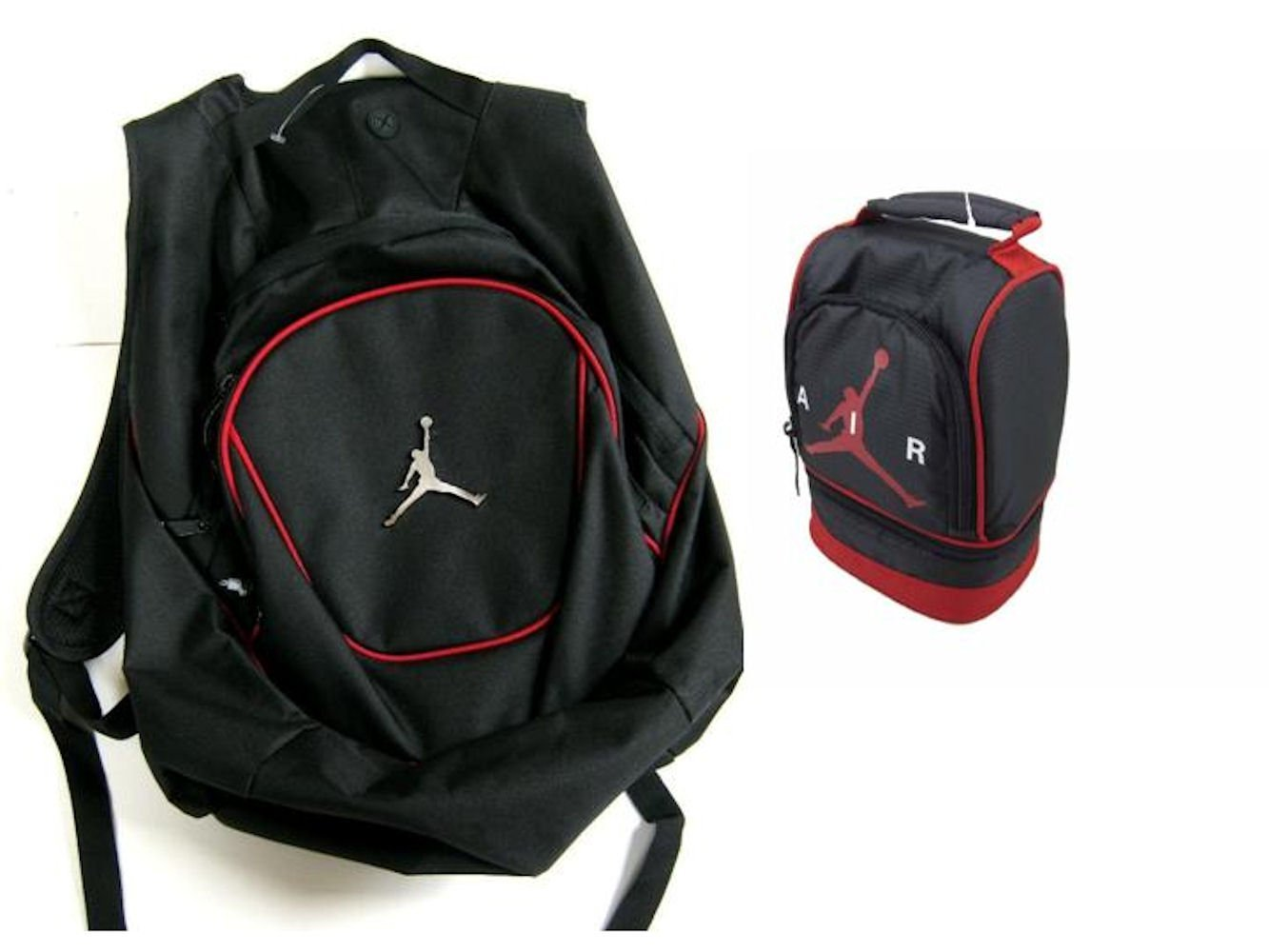 4dca013c08f Get Quotations · Nike Air Jordan Jumpman 23 Red Ring Backpack   Black Air  Lunch Tote Bag Combo +
